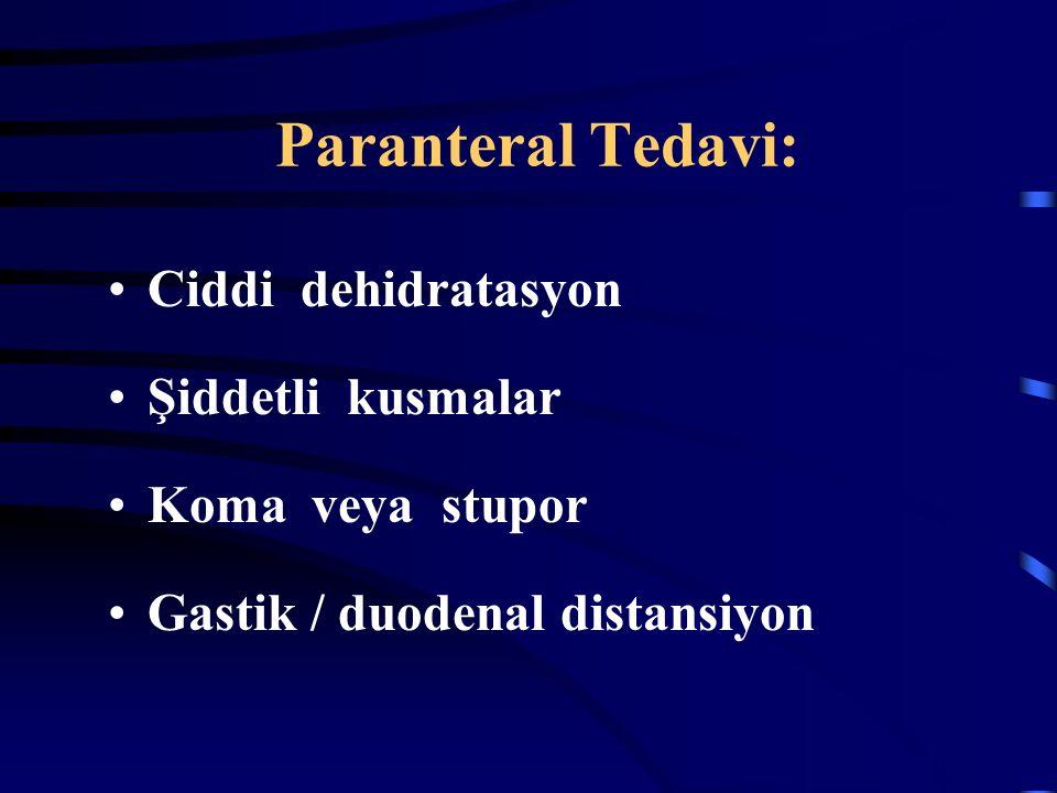 Paranteral Tedavi: Ciddi dehidratasyon Şiddetli kusmalar