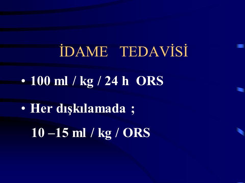 İDAME TEDAVİSİ 100 ml / kg / 24 h ORS Her dışkılamada ;
