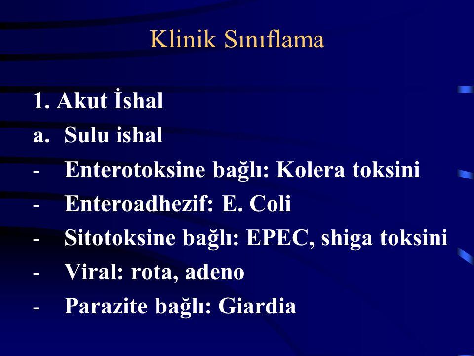 Klinik Sınıflama 1. Akut İshal Sulu ishal