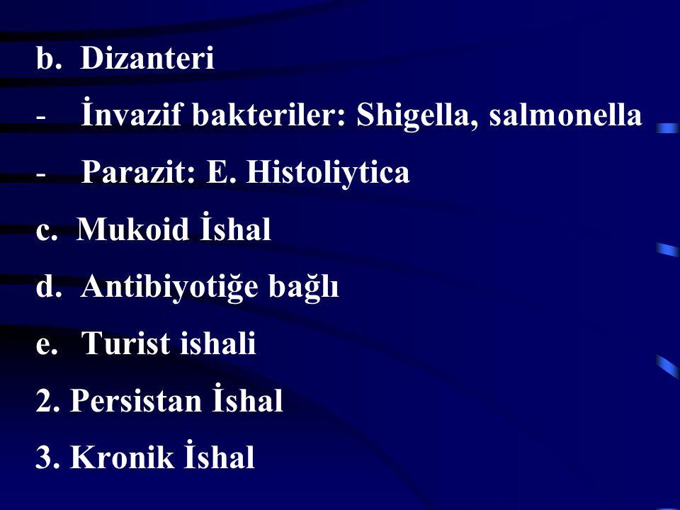b. Dizanteri İnvazif bakteriler: Shigella, salmonella. Parazit: E. Histoliytica. c. Mukoid İshal.