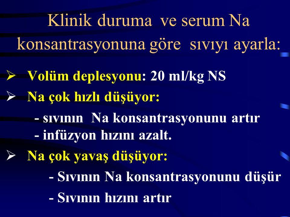 Klinik duruma ve serum Na konsantrasyonuna göre sıvıyı ayarla: