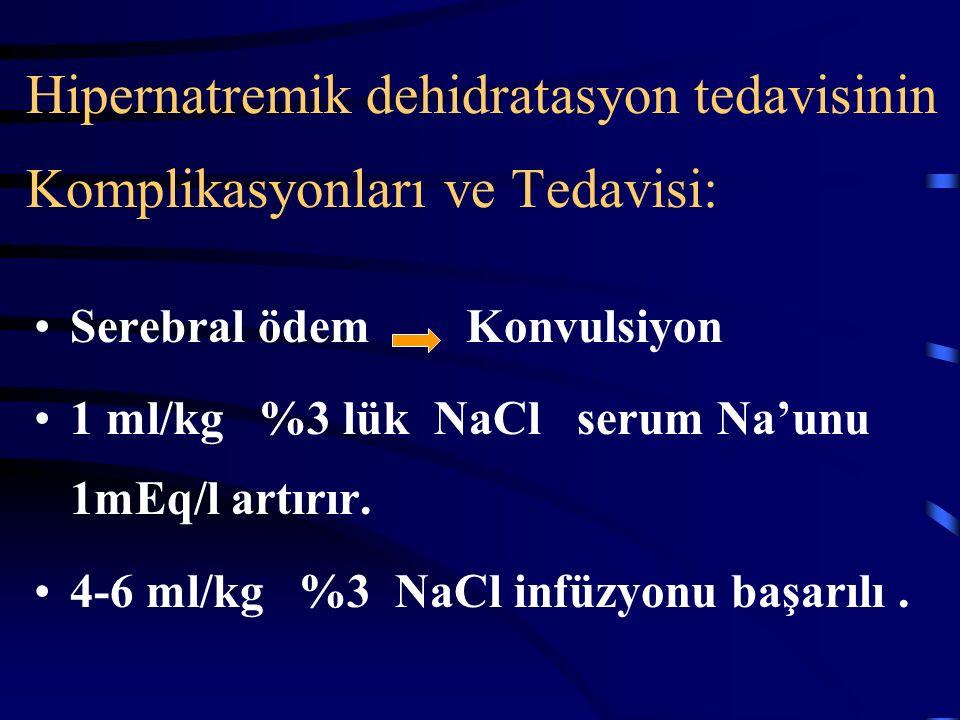 Hipernatremik dehidratasyon tedavisinin Komplikasyonları ve Tedavisi: