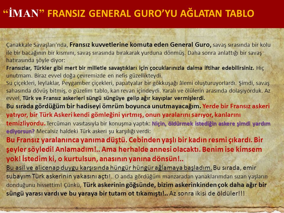 İMAN FRANSIZ GENERAL GURO'YU AĞLATAN TABLO