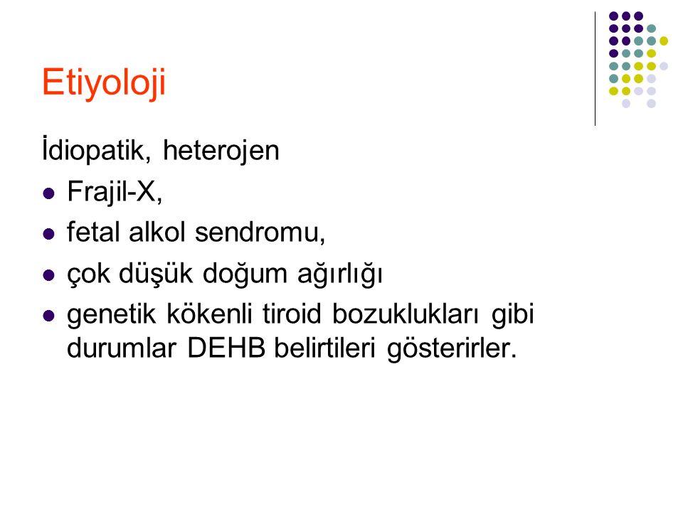 Etiyoloji İdiopatik, heterojen Frajil-X, fetal alkol sendromu,