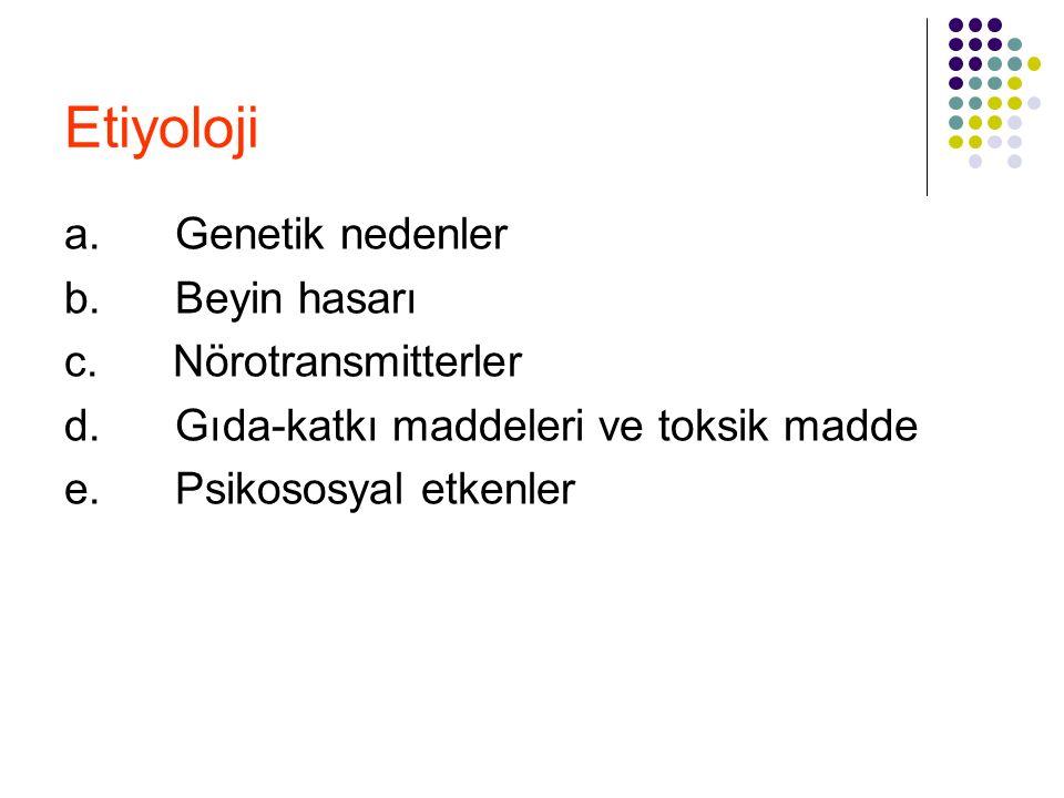 Etiyoloji a. Genetik nedenler b. Beyin hasarı c. Nörotransmitterler