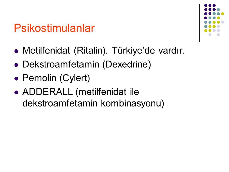 Psikostimulanlar Metilfenidat (Ritalin). Türkiye'de vardır.