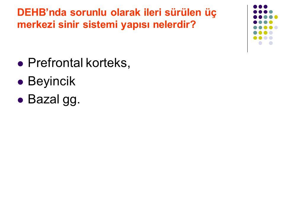 Prefrontal korteks, Beyincik Bazal gg.