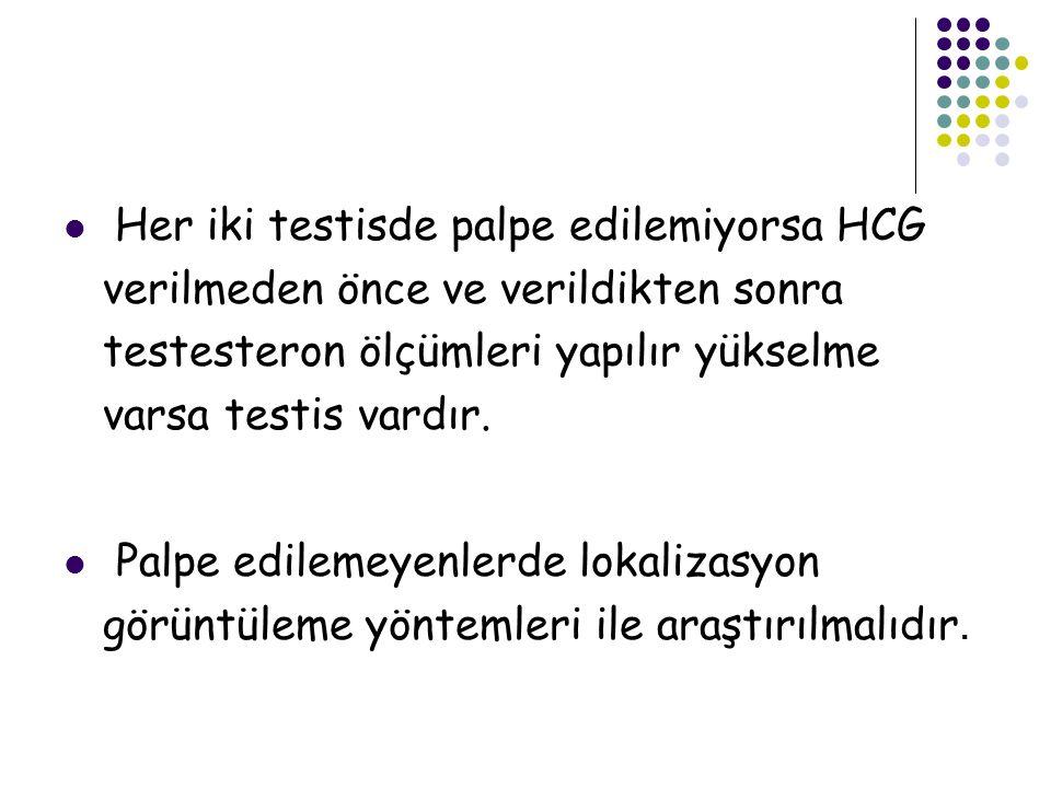 Her iki testisde palpe edilemiyorsa HCG verilmeden önce ve verildikten sonra testesteron ölçümleri yapılır yükselme varsa testis vardır.