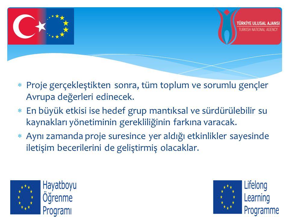 Proje gerçekleştikten sonra, tüm toplum ve sorumlu gençler Avrupa değerleri edinecek.