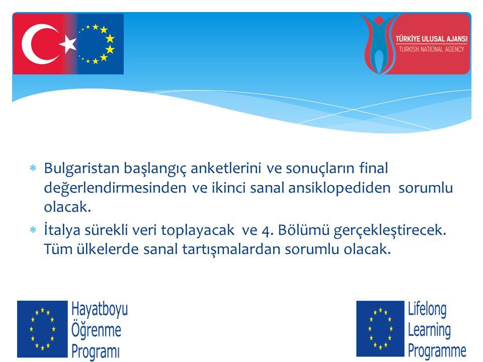Bulgaristan başlangıç anketlerini ve sonuçların final değerlendirmesinden ve ikinci sanal ansiklopediden sorumlu olacak.