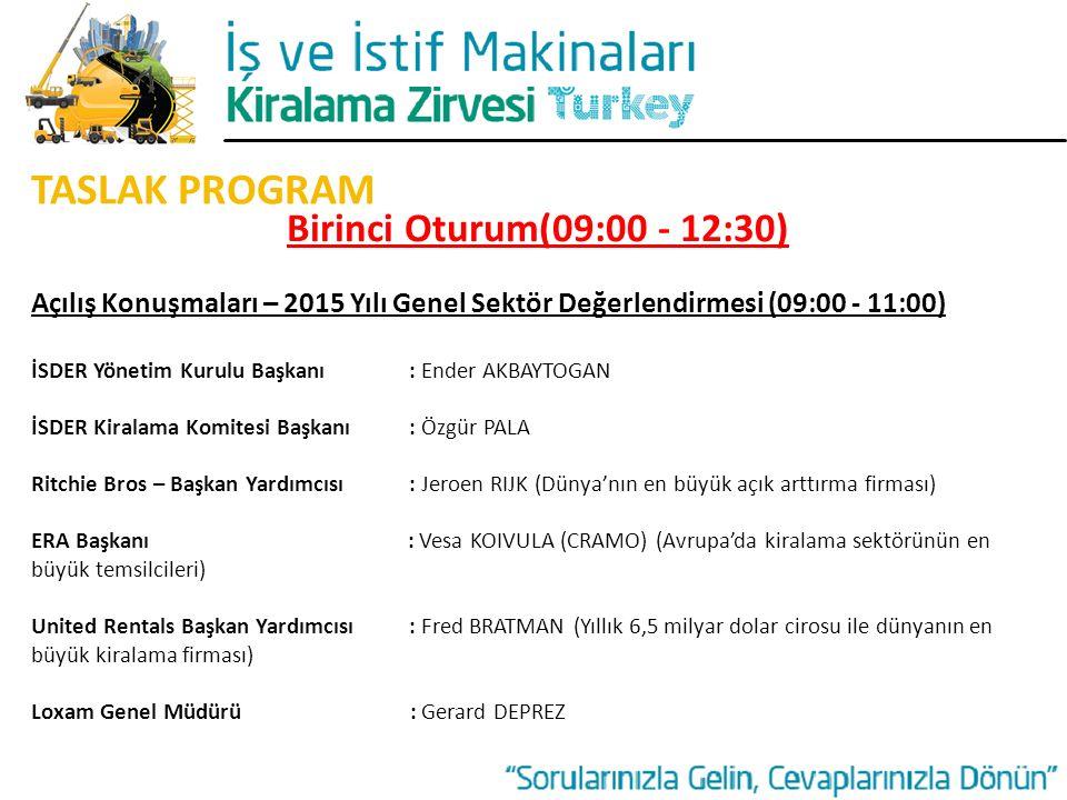 TASLAK PROGRAM Birinci Oturum(09:00 - 12:30)
