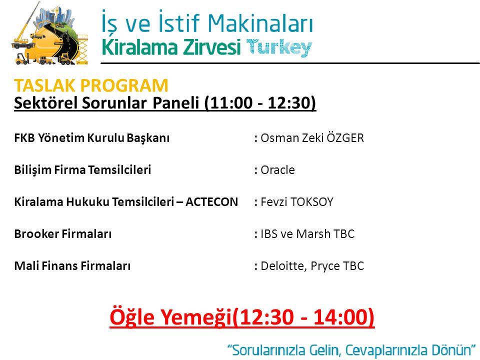 Öğle Yemeği(12:30 - 14:00) TASLAK PROGRAM