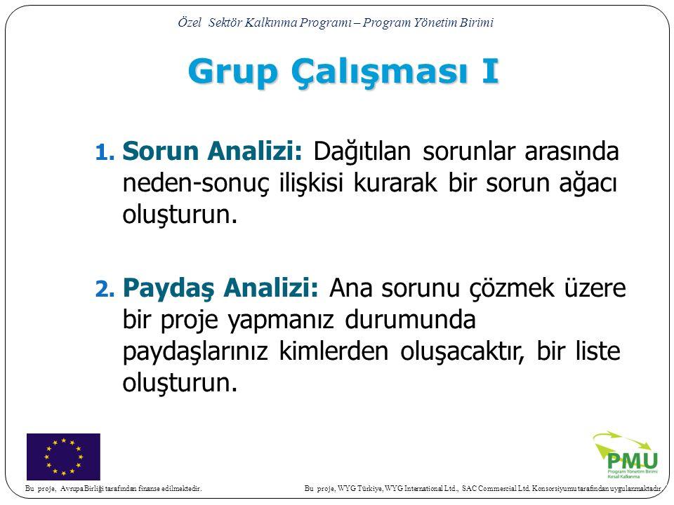 Grup Çalışması I Sorun Analizi: Dağıtılan sorunlar arasında neden-sonuç ilişkisi kurarak bir sorun ağacı oluşturun.