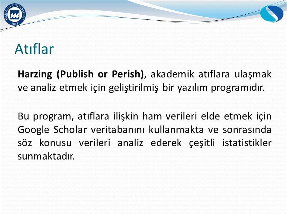 Atıflar Harzing (Publish or Perish), akademik atıflara ulaşmak ve analiz etmek için geliştirilmiş bir yazılım programıdır.