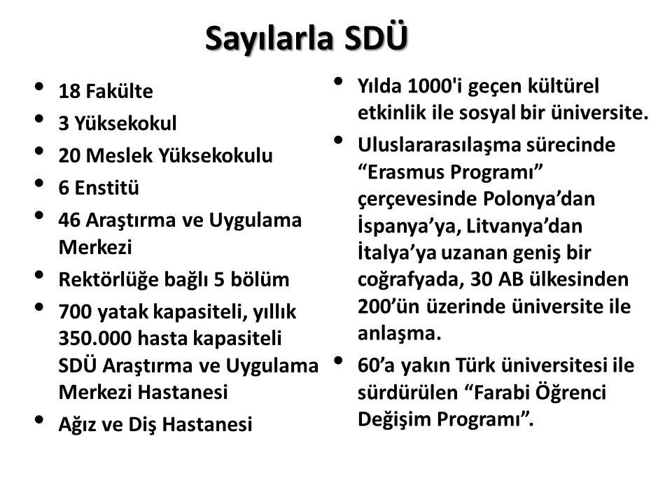 Sayılarla SDÜ Yılda 1000 i geçen kültürel etkinlik ile sosyal bir üniversite.
