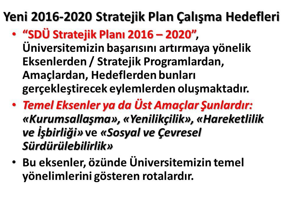 Yeni 2016-2020 Stratejik Plan Çalışma Hedefleri