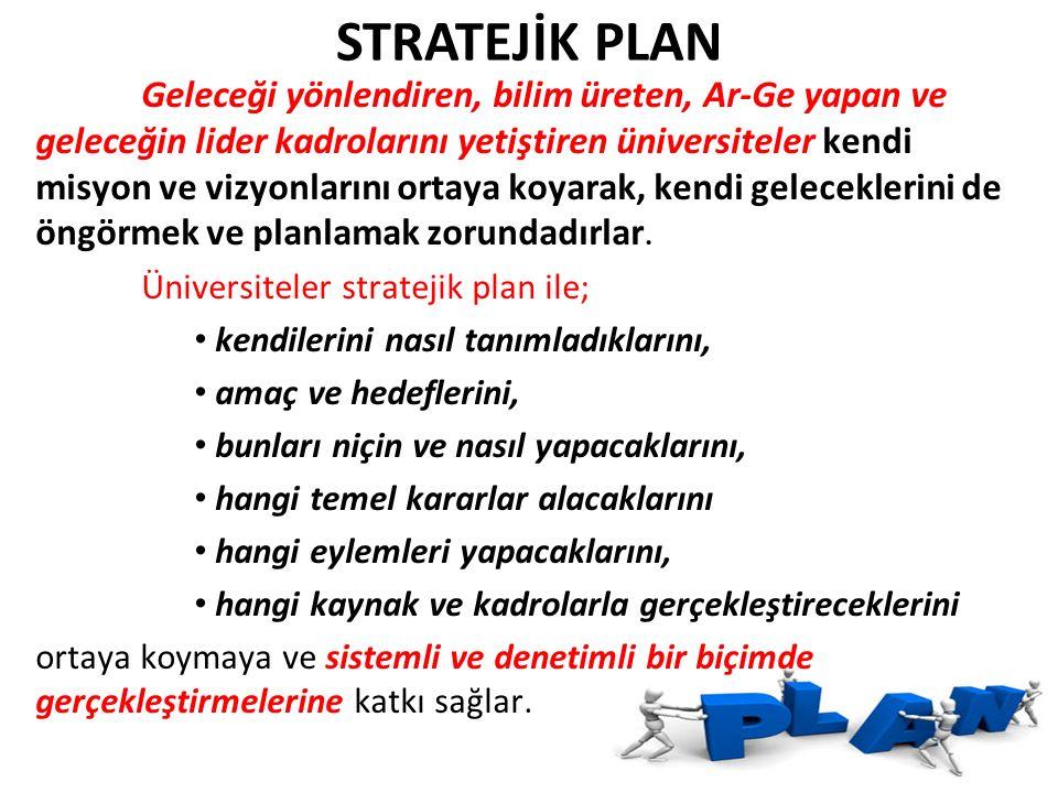 STRATEJİK PLAN Üniversiteler stratejik plan ile;