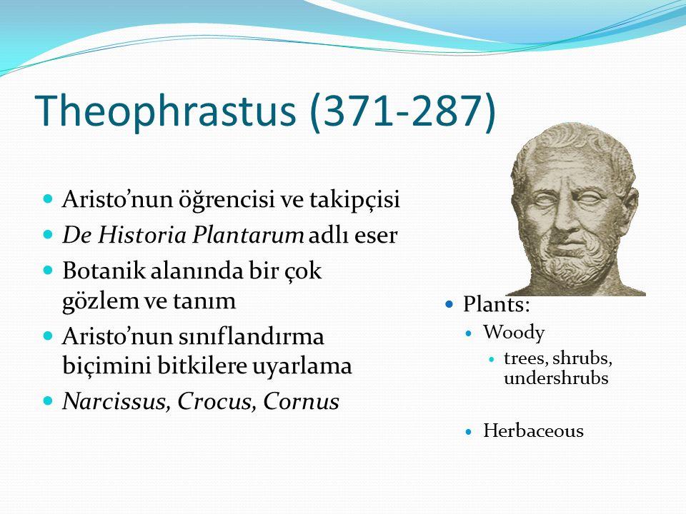 Theophrastus (371-287) Aristo'nun öğrencisi ve takipçisi
