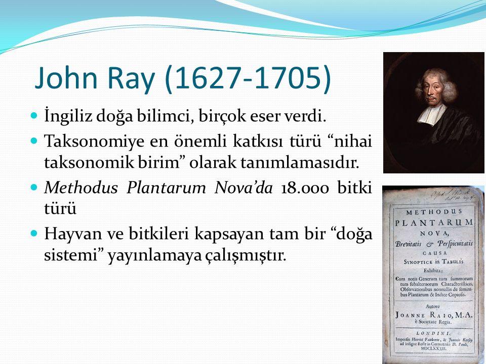 John Ray (1627-1705) İngiliz doğa bilimci, birçok eser verdi.