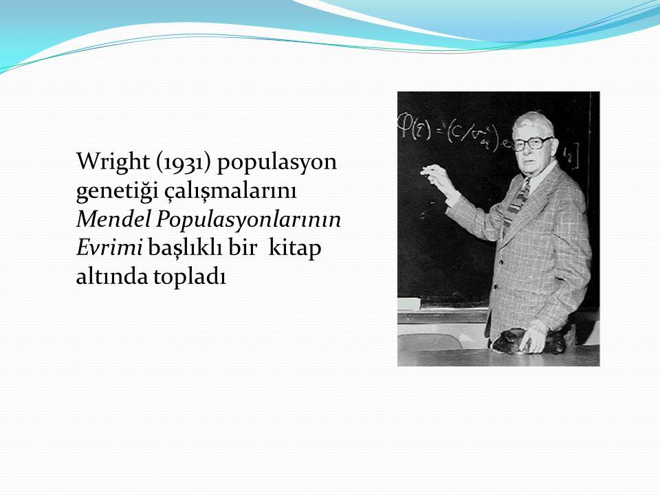 Wright (1931) populasyon genetiği çalışmalarını Mendel Populasyonlarının Evrimi başlıklı bir kitap altında topladı