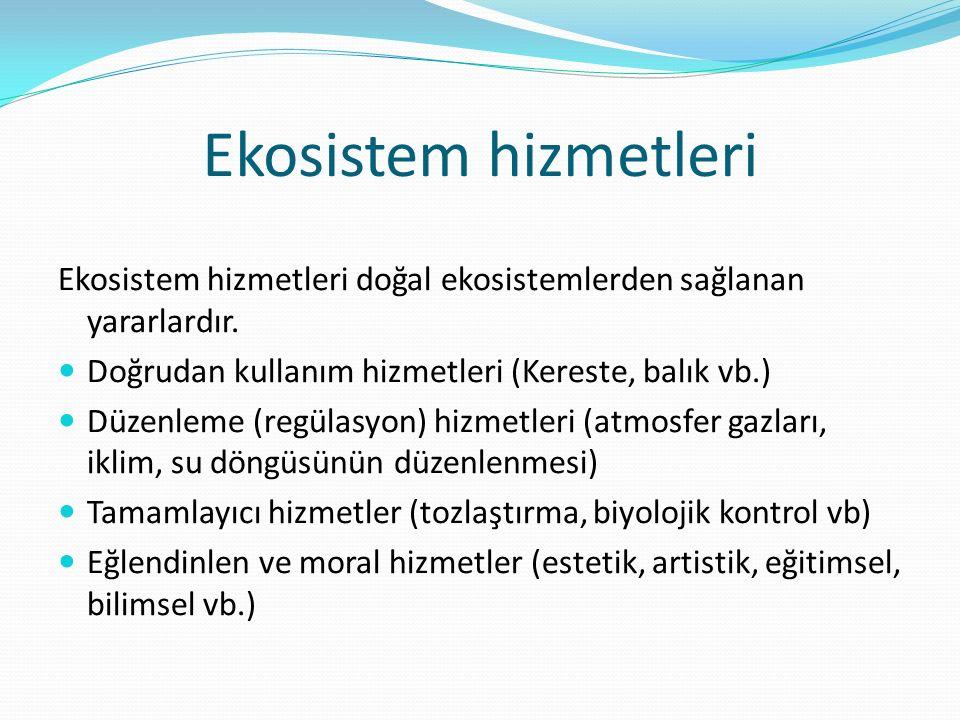 Ekosistem hizmetleri Ekosistem hizmetleri doğal ekosistemlerden sağlanan yararlardır. Doğrudan kullanım hizmetleri (Kereste, balık vb.)