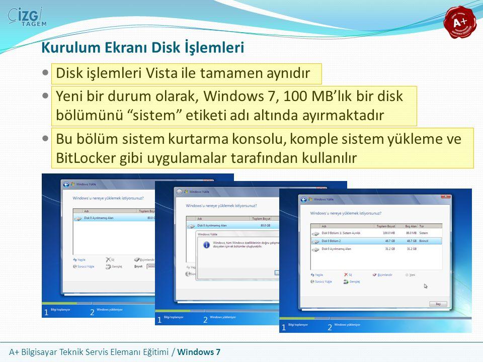 Kurulum Ekranı Disk İşlemleri