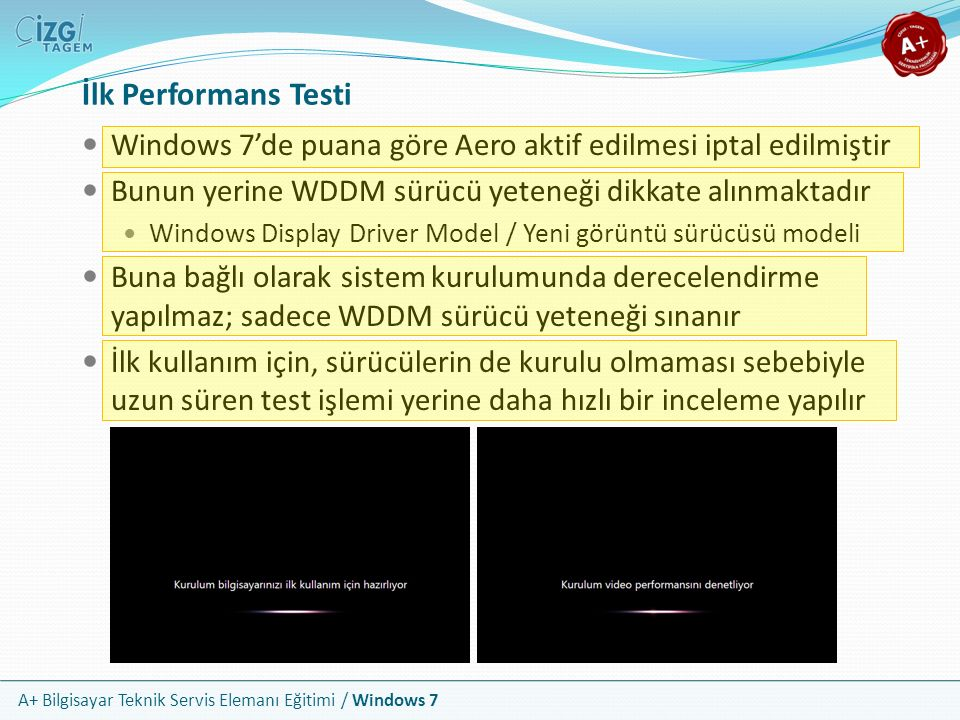 İlk Performans Testi Windows 7'de puana göre Aero aktif edilmesi iptal edilmiştir. Bunun yerine WDDM sürücü yeteneği dikkate alınmaktadır.