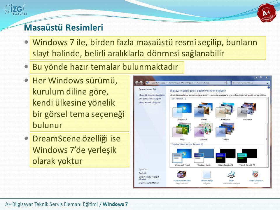 Masaüstü Resimleri Windows 7 ile, birden fazla masaüstü resmi seçilip, bunların slayt halinde, belirli aralıklarla dönmesi sağlanabilir.