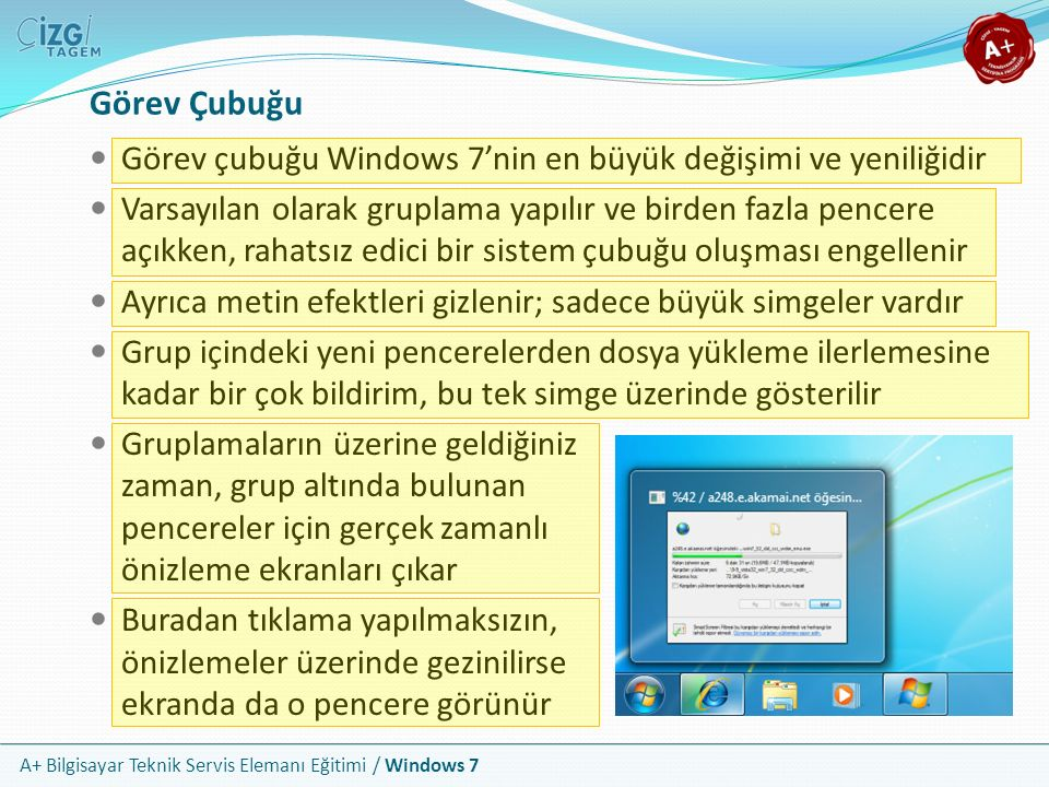 Görev Çubuğu Görev çubuğu Windows 7'nin en büyük değişimi ve yeniliğidir.