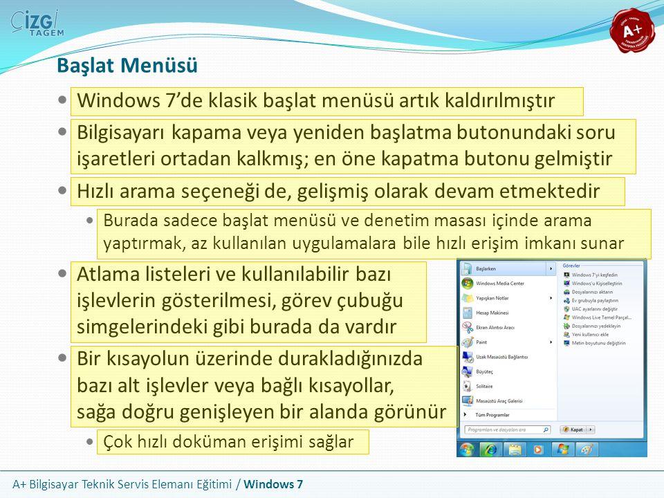 Başlat Menüsü Windows 7'de klasik başlat menüsü artık kaldırılmıştır