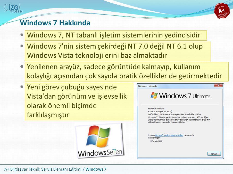 Windows 7 Hakkında Windows 7, NT tabanlı işletim sistemlerinin yedincisidir.