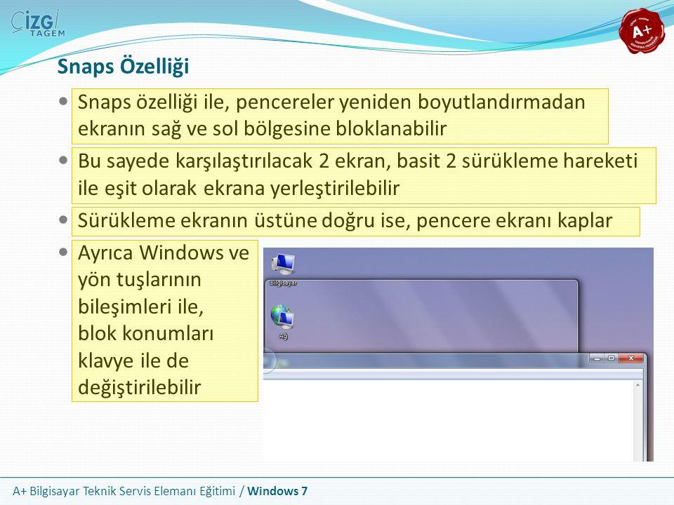 Snaps Özelliği Snaps özelliği ile, pencereler yeniden boyutlandırmadan ekranın sağ ve sol bölgesine bloklanabilir.