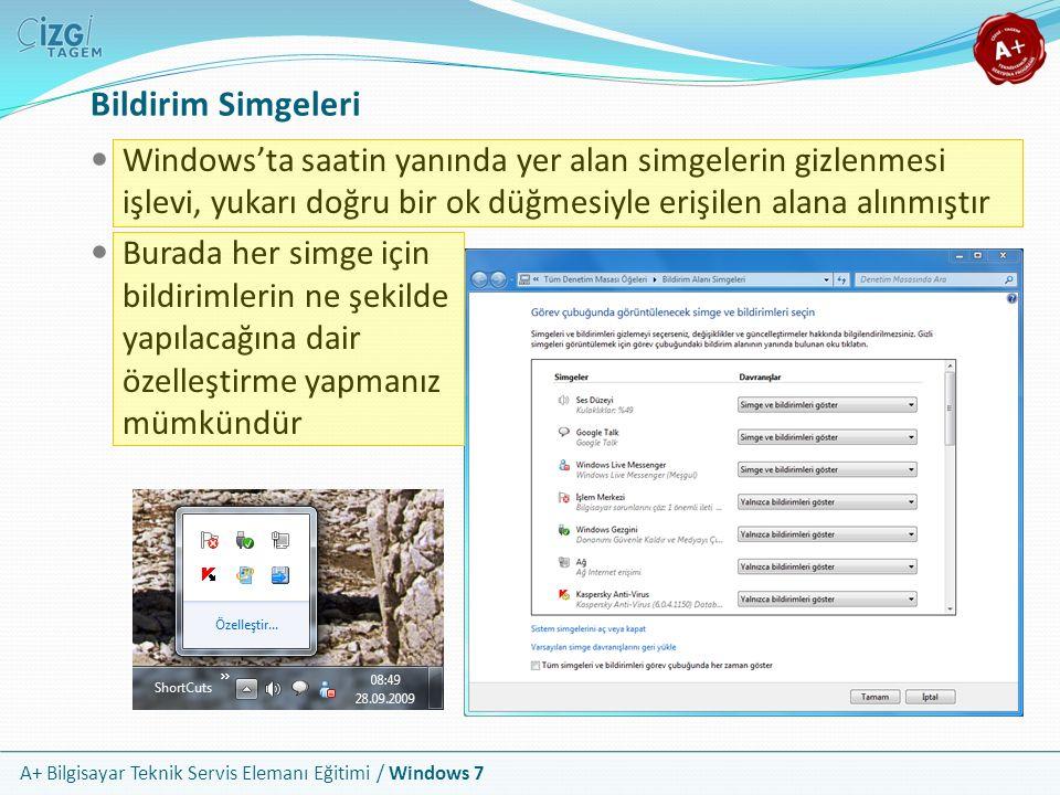 Bildirim Simgeleri Windows'ta saatin yanında yer alan simgelerin gizlenmesi işlevi, yukarı doğru bir ok düğmesiyle erişilen alana alınmıştır.