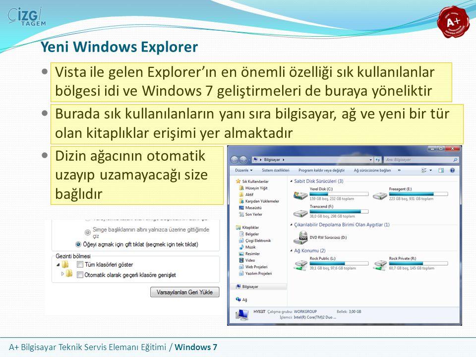 Yeni Windows Explorer Vista ile gelen Explorer'ın en önemli özelliği sık kullanılanlar bölgesi idi ve Windows 7 geliştirmeleri de buraya yöneliktir.