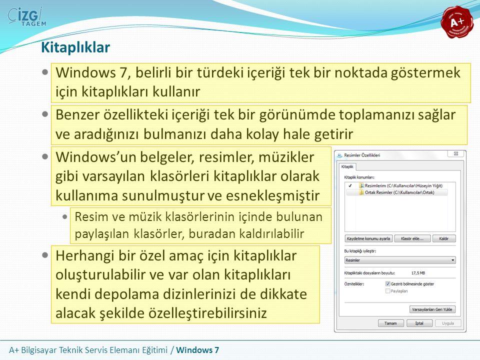 Kitaplıklar Windows 7, belirli bir türdeki içeriği tek bir noktada göstermek için kitaplıkları kullanır.