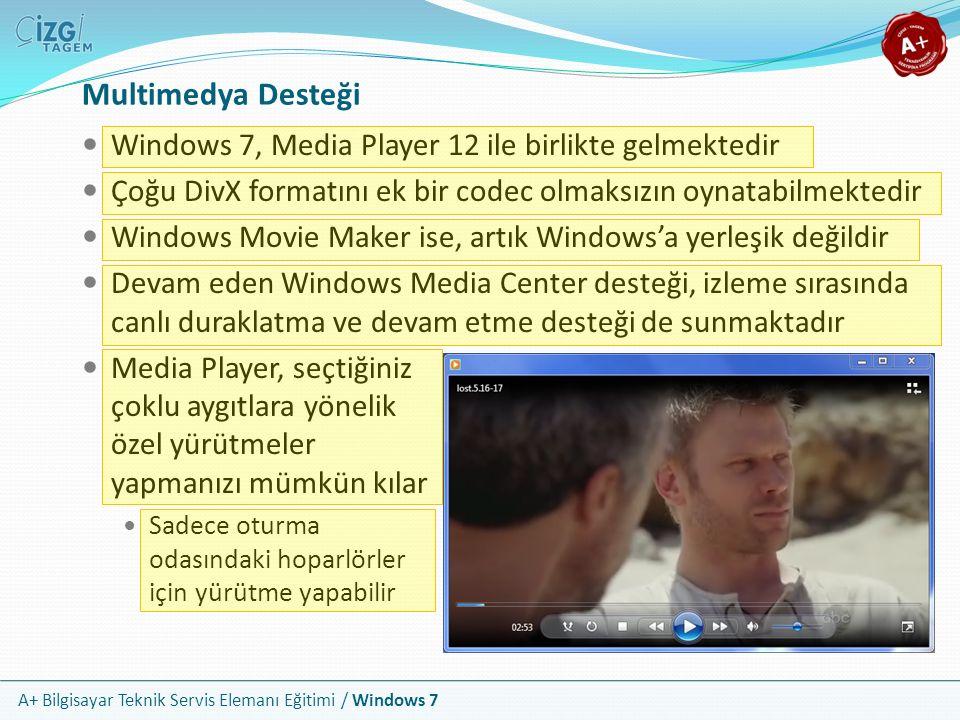 Multimedya Desteği Windows 7, Media Player 12 ile birlikte gelmektedir
