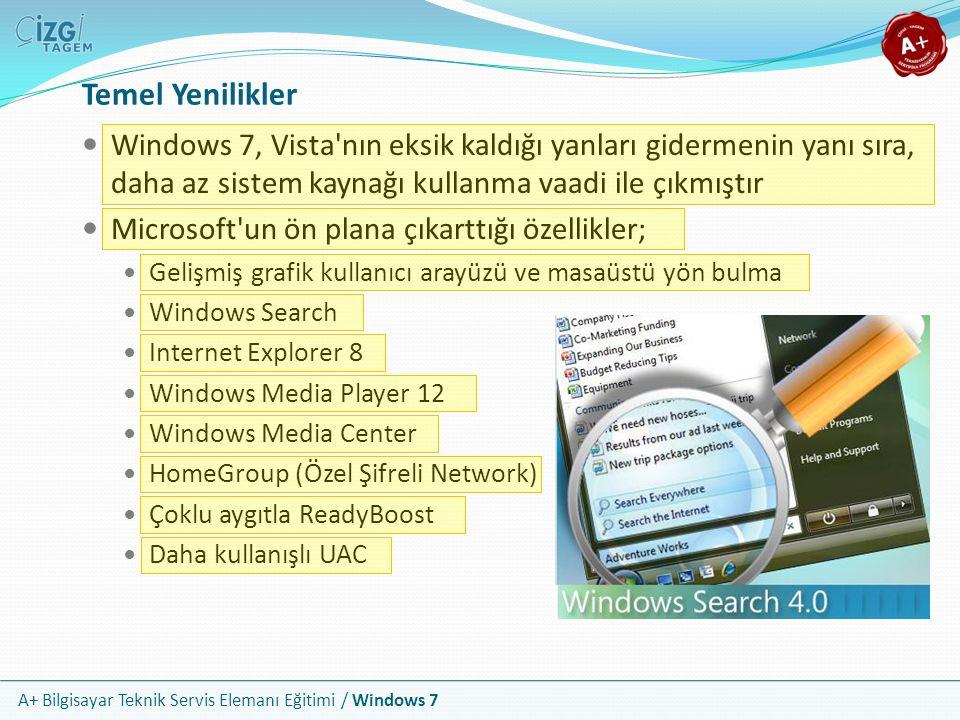 Temel Yenilikler Windows 7, Vista nın eksik kaldığı yanları gidermenin yanı sıra, daha az sistem kaynağı kullanma vaadi ile çıkmıştır.