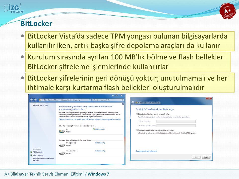 BitLocker BitLocker Vista'da sadece TPM yongası bulunan bilgisayarlarda kullanılır iken, artık başka şifre depolama araçları da kullanır.