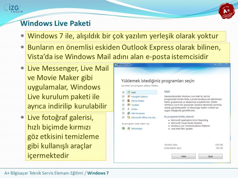 Windows Live Paketi Windows 7 ile, alışıldık bir çok yazılım yerleşik olarak yoktur.