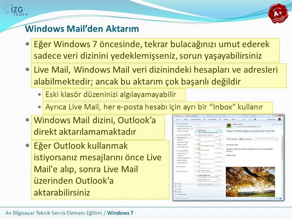 Windows Mail'den Aktarım