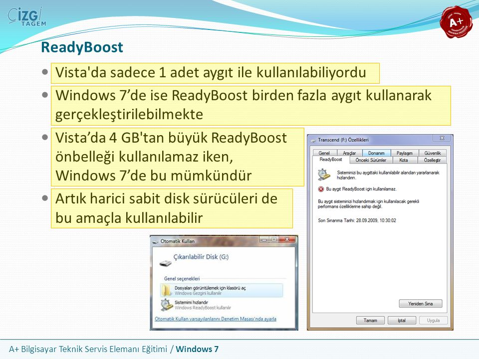ReadyBoost Vista da sadece 1 adet aygıt ile kullanılabiliyordu