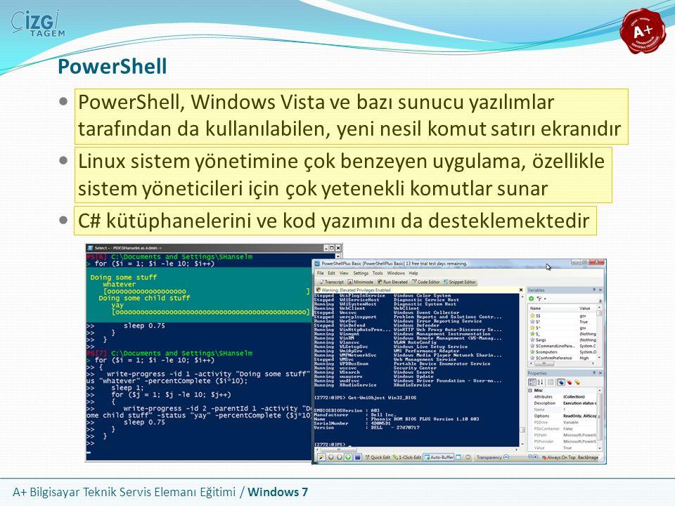 PowerShell PowerShell, Windows Vista ve bazı sunucu yazılımlar tarafından da kullanılabilen, yeni nesil komut satırı ekranıdır.