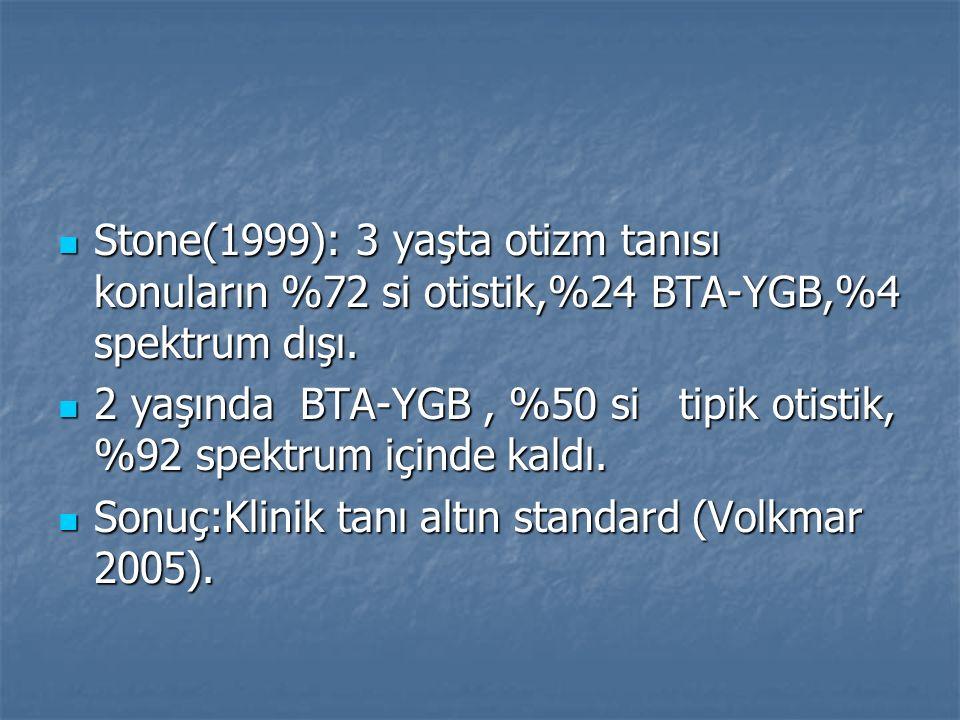 Stone(1999): 3 yaşta otizm tanısı konuların %72 si otistik,%24 BTA-YGB,%4 spektrum dışı.