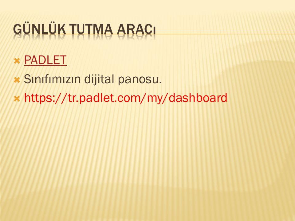 Günlük tutma aracı PADLET Sınıfımızın dijital panosu.