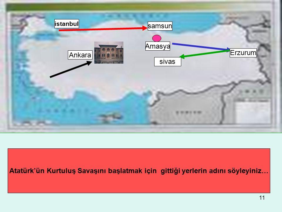 samsun Amasya Erzurum Ankara sivas