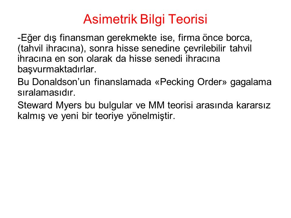 Asimetrik Bilgi Teorisi