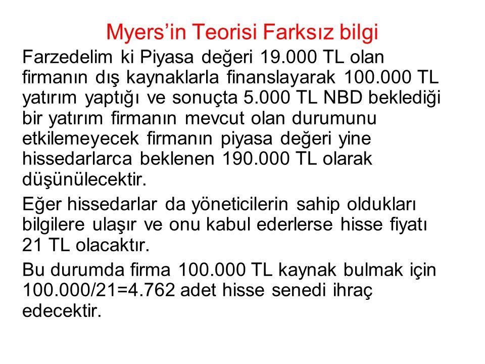 Myers'in Teorisi Farksız bilgi