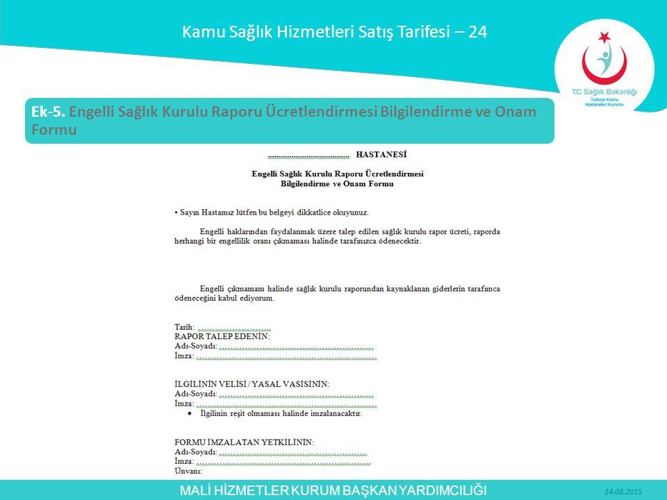 Kamu Sağlık Hizmetleri Satış Tarifesi – 24