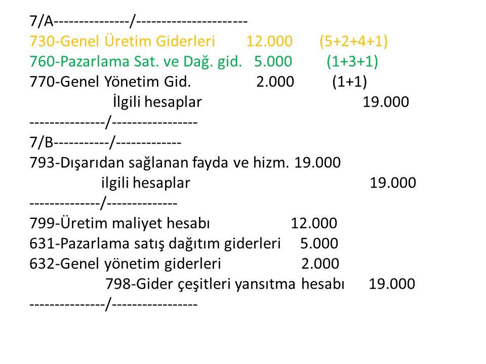 7/A---------------/---------------------- 730-Genel Üretim Giderleri 12.000 (5+2+4+1) 760-Pazarlama Sat.
