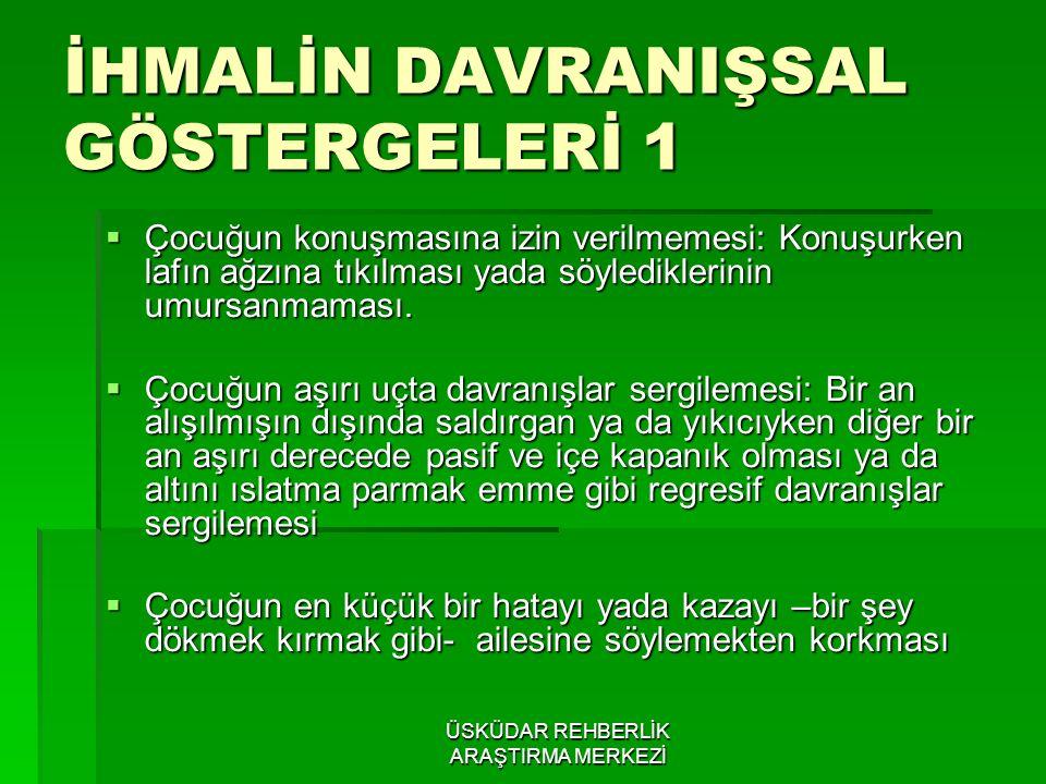 İHMALİN DAVRANIŞSAL GÖSTERGELERİ 1